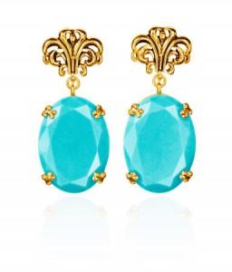 boucle d'oreille doré turquoise Anna Dello Russo H&M