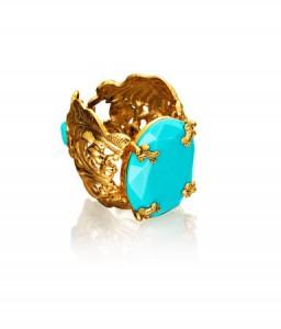 bracelet doré turquoise Anna Dello Russo H&M