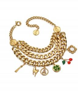 collier métal doré breloque Anna Dello Russo H&M