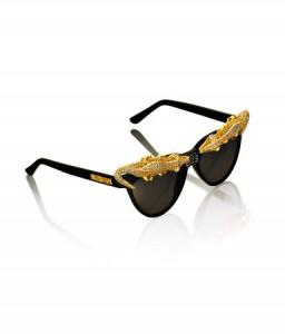 lunette de soleil noire et doré Anna Dello Russo H&M