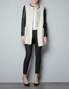 manteau bi matière manches cuir Zara 149 euros