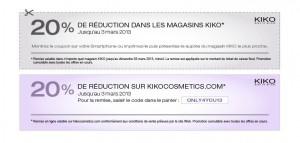 kiko réduction 20% bon de réduction